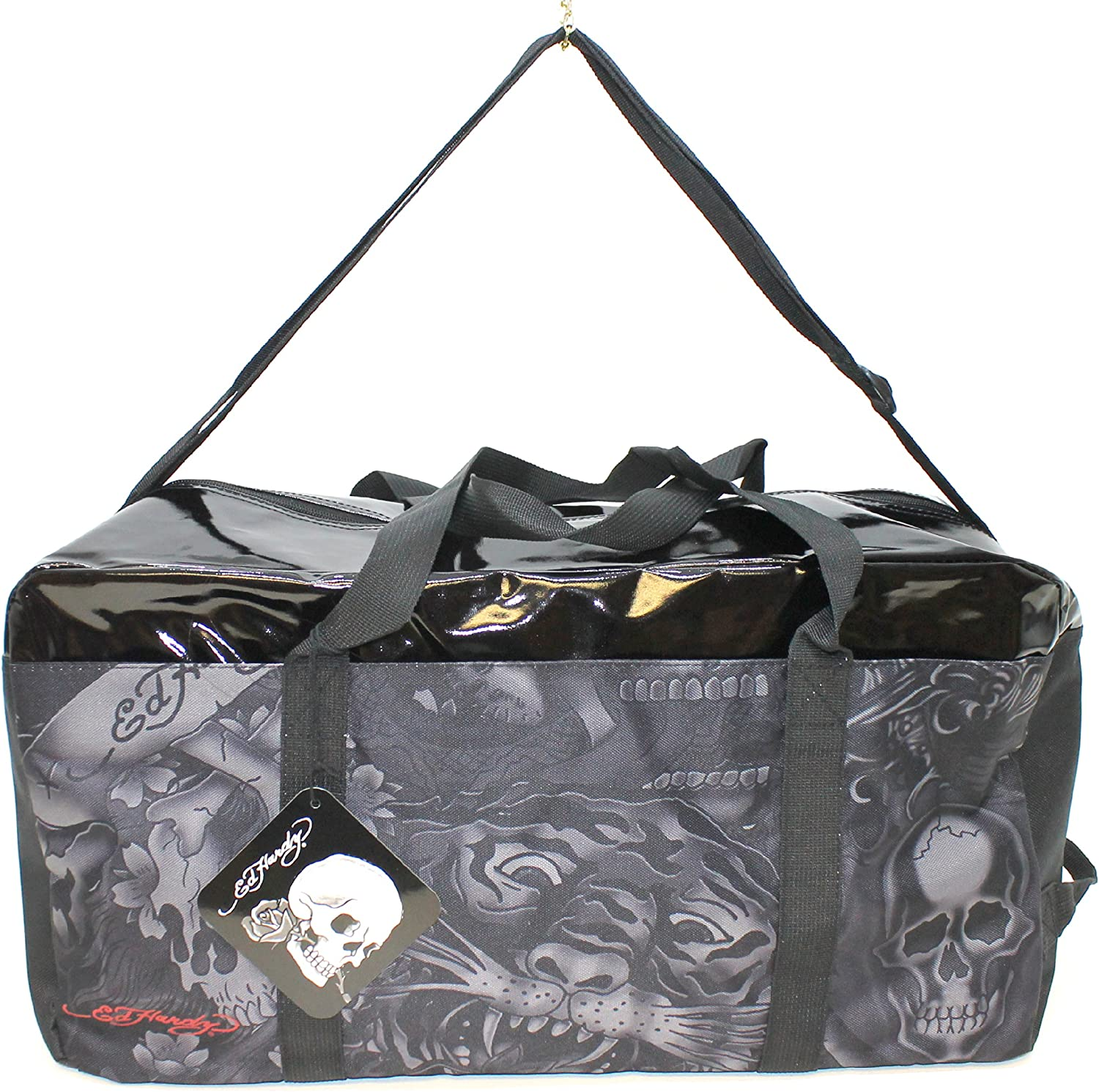 ED HARDY BLACK SHINY TOP OVERNIGHT// WEEKEND BAG WITH ADJUSTABLE STRAP NEW