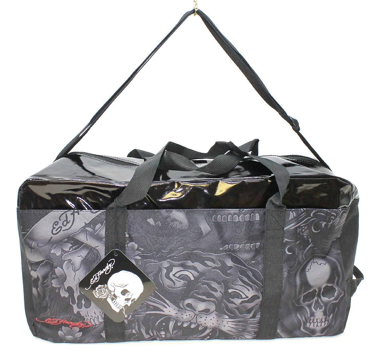 f4d011e86823 ED HARDY BLACK SHINY TOP OVERNIGHT  WEEKEND BAG   WITH ADJUSTABLE STRAP    NEW  Amazon.co.uk  Luggage