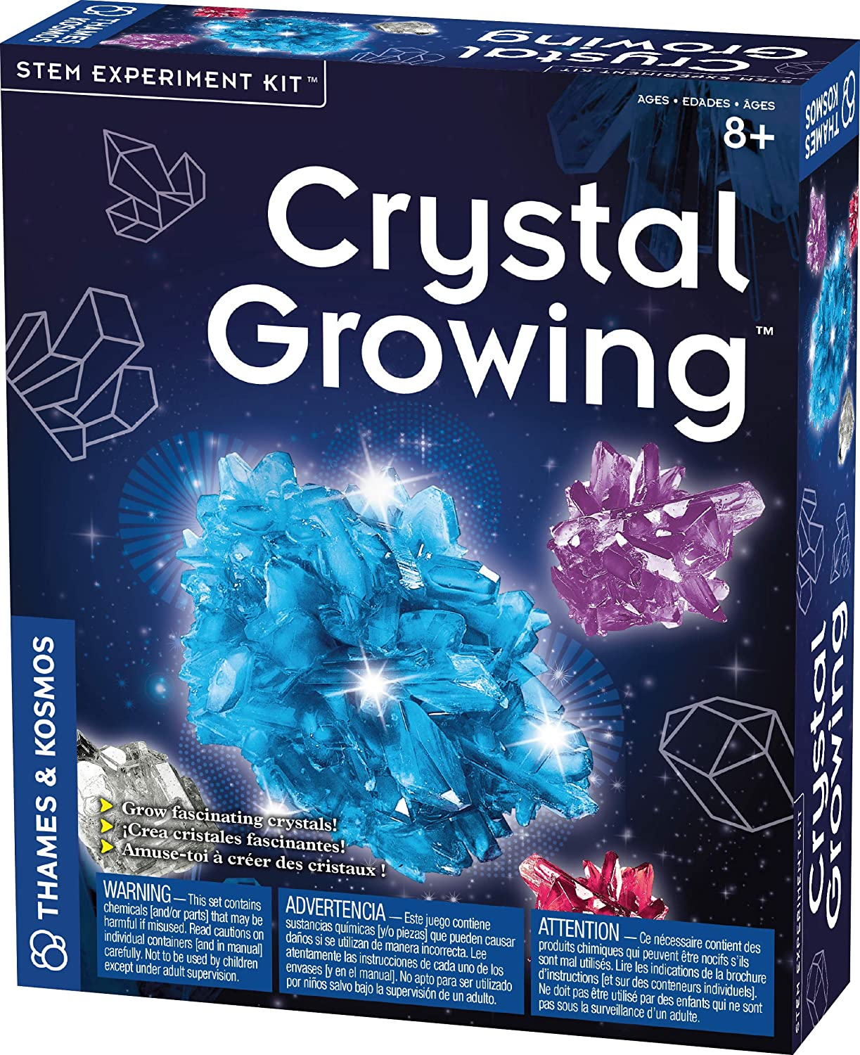 Thames & Kosmos Crystal Growing STEM Experiment Kit | Grow Sparkling, Colorful Crystals of Different Sizes! | Learn About Crystallization| 3-Language Instruction Manual (English, French, Spanish)