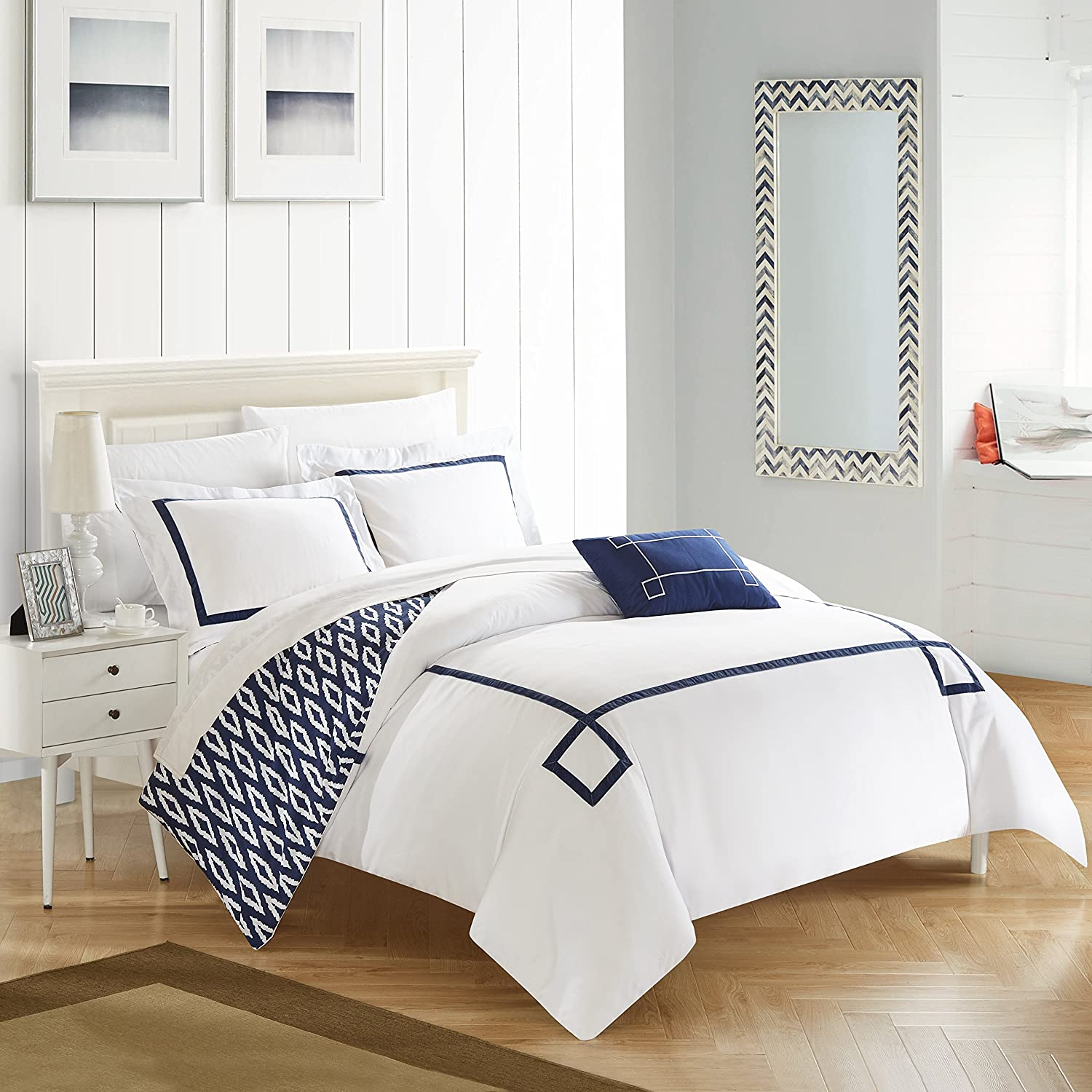 Chic Home 3 Piece Kendall Contemporary Greek Key Embroidered Reversible Twin X-Long Duvet Cover Set Navy Shams and Decorative Pillows Included, XL