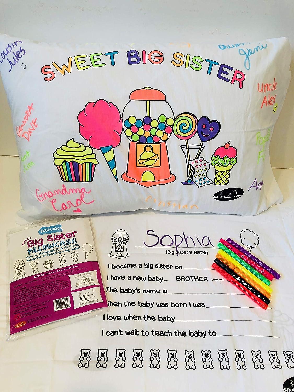 Sunny Marshmallow Big Sister Autograph Pillowcase