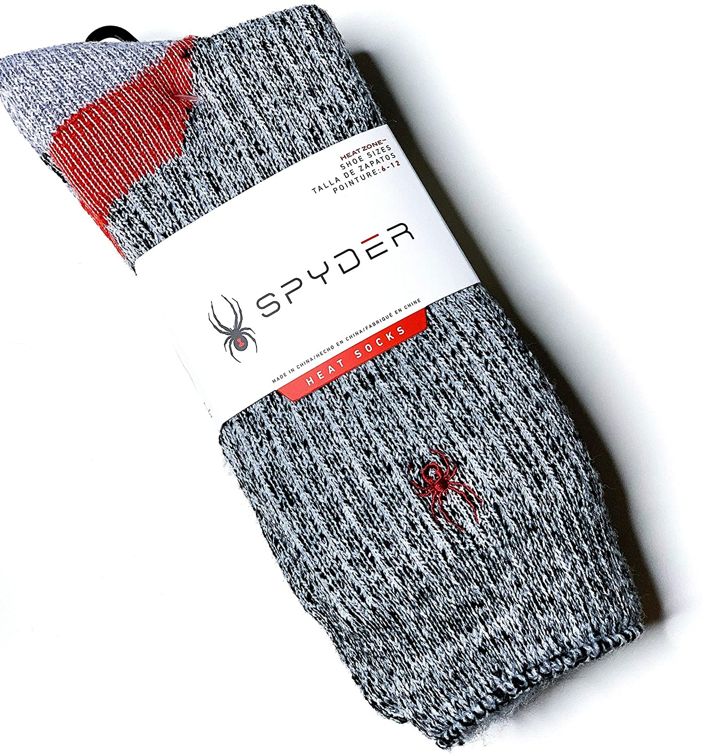 Spyder 1-pair Heat Socks Gray Heather with Red Stitched Logo