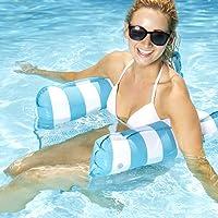 Aqua AQL10180 Monterey 4-in-1 Multi-Purpose Inflatable Hammock Portable Pool Float, Blue Stripe; One Size
