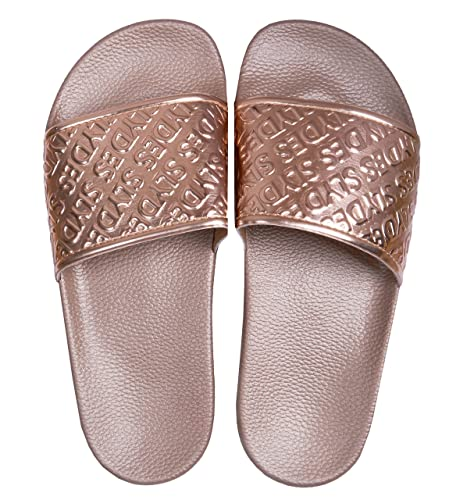 WOMENS ROSE GOLD DIAMANTE SLIP ON SLIDERS FLAT SUMMER DRESSY SANDALS LADIES SIZE