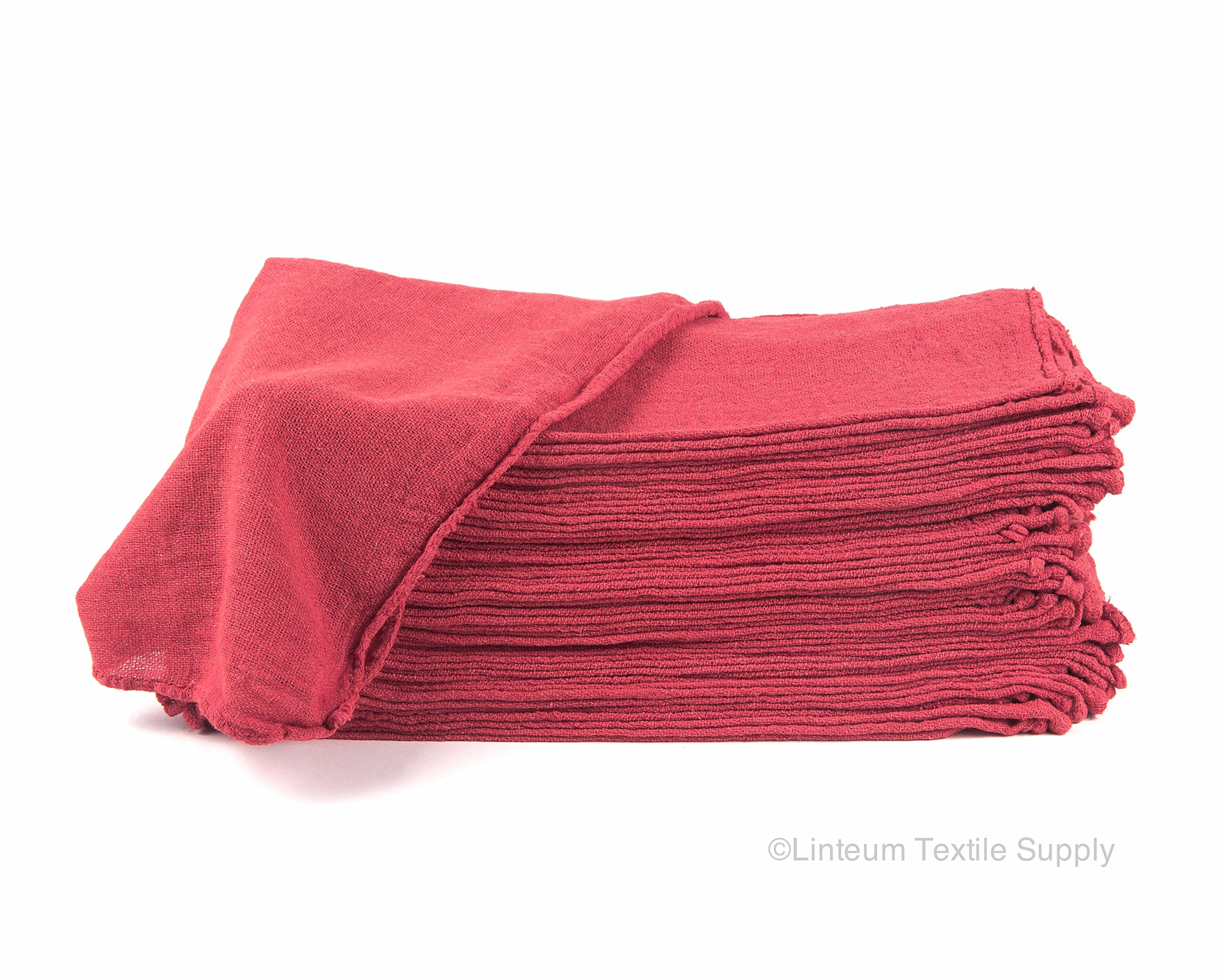 Linteum Textile (100-Pack, 14x14 in, Red) AUTO SHOP TOWEL, 100% Cotton Commercial Grade Rags, Ideal for Auto-Mechanic Cleaning & Detailing