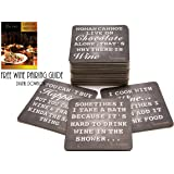 Wine Drink Coasters for Glasses with 7 Different Funny Wine Sayings. Vegetable Base Ink, Biodegradable 28ct