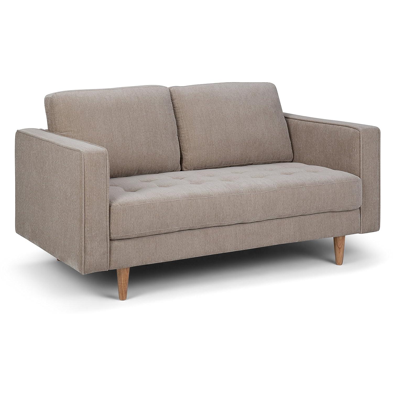 Simpli Home AXCBLN-02-WG Blaine Mid Century Modern 62 inch Wide Sofa Loveseat in Light Warm Grey Chenille Look Fabric