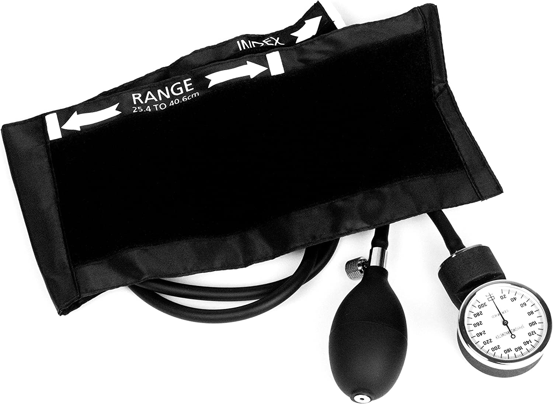 Dixie Ems Deluxe Aneroid Sphygmomanometer Blood Pressure Cuff, Black