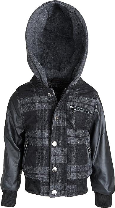 dbac1194b172 Amazon.com  Urban Republic Big Boys Plaid Wool Blend Varsity Jacket ...