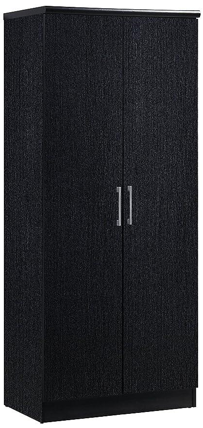 Hodedah 2 Door Wardrobe With Adjustable/Removable Shelves U0026 Hanging Rod,  Black