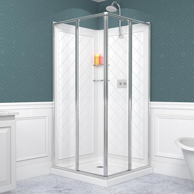 DreamLine Cornerview  In D X  In W Kit With Corner Sliding - 36 x 36 corner shower stall