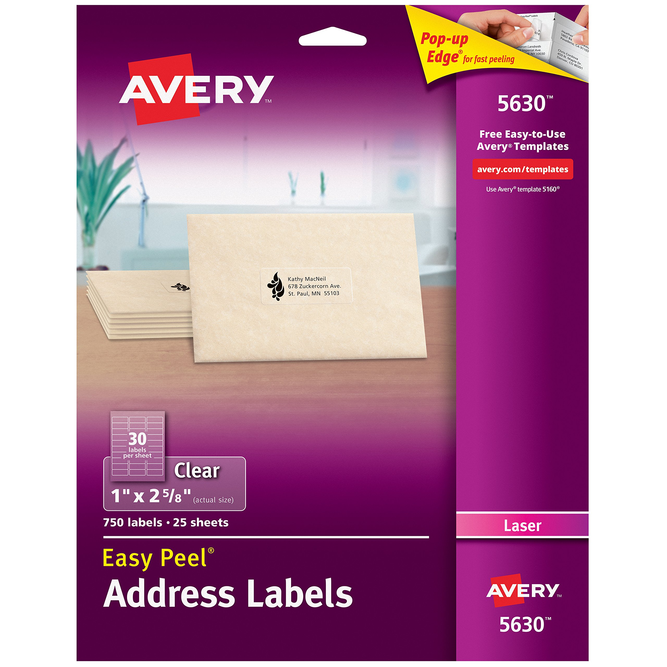 Avery Matte Frosted Clear Address Labels for Laser Printers, 1'' x 2-5/8'', 750 Labels (5630)