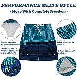 SHEKINI Men's Board Shorts Swimwear Striped Swim
