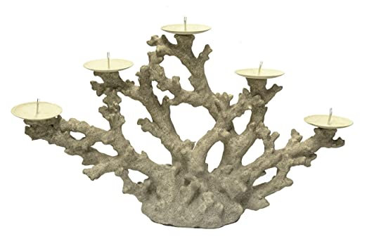 Christmas Tablescape Decor - Gray coral 5-branch pillar candle holder by Sagebrook Home