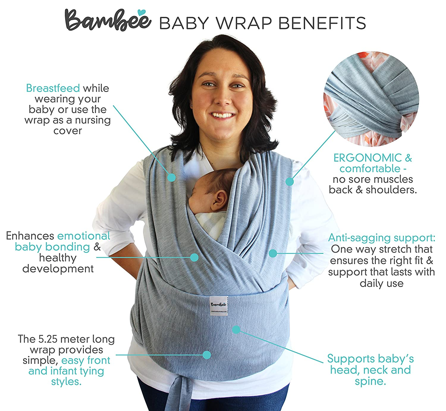 Bambee Baby Sling Wrap, lightweight ergonomic front comfortable carrier best for toddler, newborn baby wearing and nursing, birth-35 lbs, soft natural cotton Gray