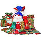 Gift Mate 58-Piece Drawstring Gift Bag Set Holiday Design by Gift Mate