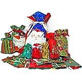 Gift Mate 58-Piece Drawstring Gift Bag Set Holiday Design