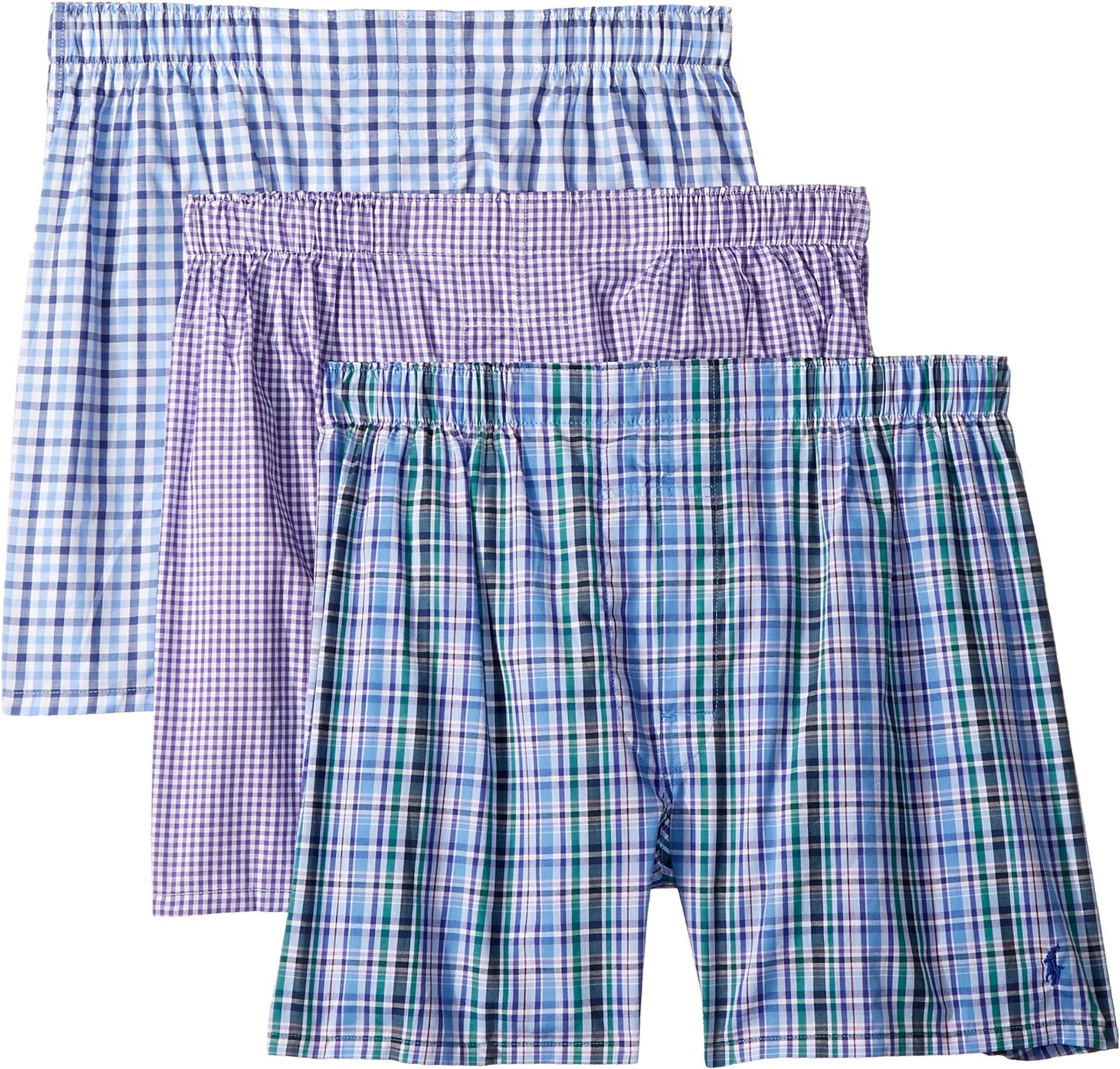 Polo Ralph Lauren Classic Fit Woven Boxers 3-Pack, M, Percy Plaid Purple