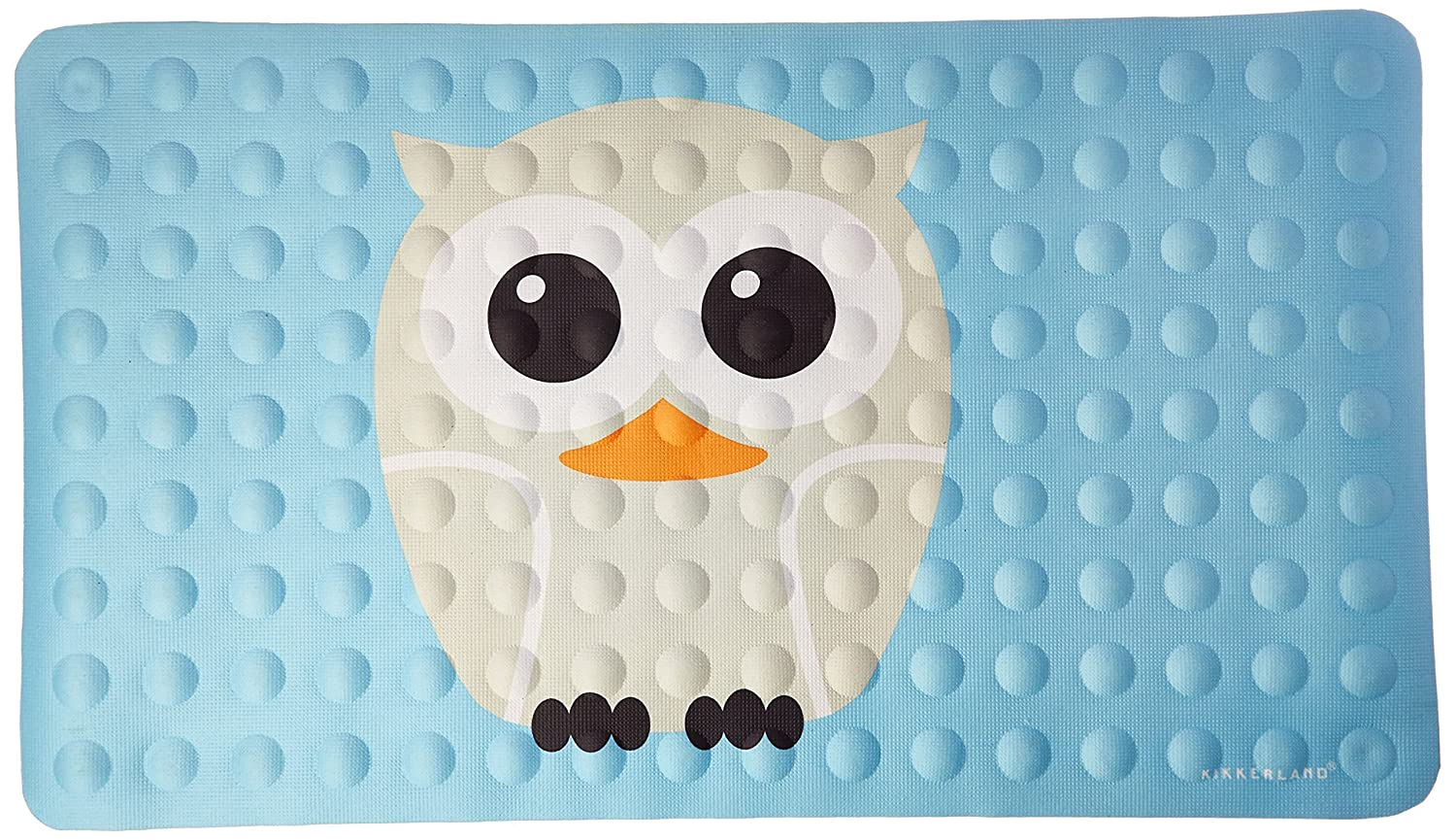 Kikkerland Bathmat, Owl, Natural Rubber High Grip Suction Cup, 27 by 15-inches HW20