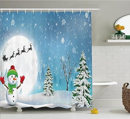 Shower Curtain Christmas Eve Santa Sleigh Waterproof Shower Curtain