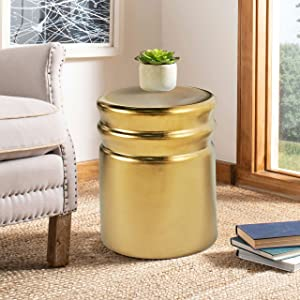"""MOTINI Heavy Duty Ceramic Garden Stool Decorative Accent Drum Side Table for Indoor & Outdoor Castle Collection, 17"""" H Plated Gold"""