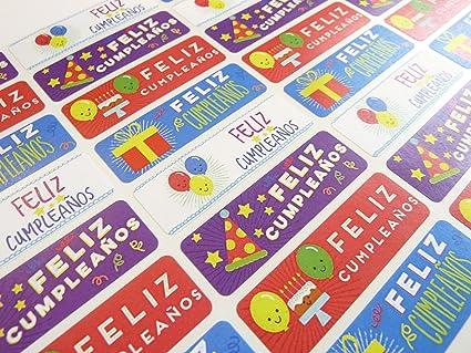 Pack de 32 feliz cumpleanos español pegatinas, de felicitación de cumpleaños Colorful self-stick etiquetas para tarjetas, sobres, manualidades, decoración: Amazon.es: Oficina y papelería