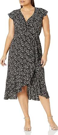 Max Studio Women's Size Ruffle Wrap Midi Dress