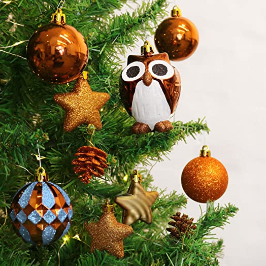 Valery Madelyn 67 Pcs 20 200mm Woodland Blue Brown Shatterproof Christmas Baubles Tree Ball Decorations