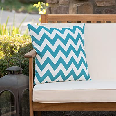 Christopher Knight Home Jerry Outdoor Dark Teal and White Chevron Water Resistant Square Throw Pillow: Home & Kitchen