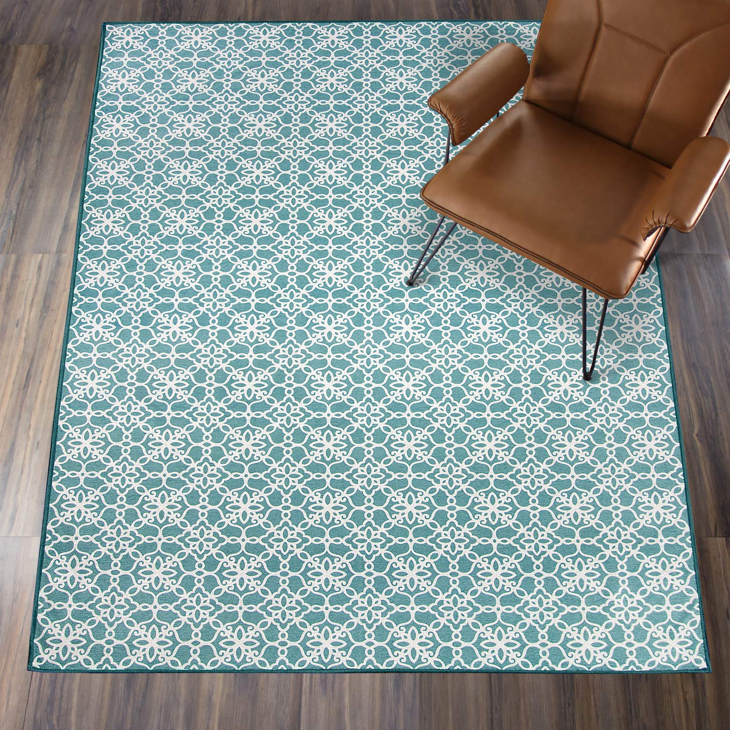 36x60 Cover and Pad Runner Rug 2pc Set RUGGABLE Washable Indoor//Outdoor Stain Resistant 3x5 Floral Tiles Aqua Blue and White