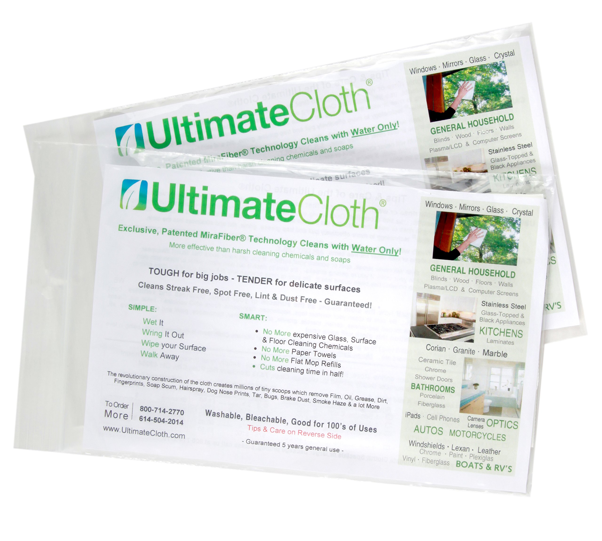 Ultimate Cloth The, Mirafiber - Advanced Microfiber Cleaning Cloth Reusable, EcoFriendly Chemical Free, Superior Multi-Surface Cleaning Cloth 2 Pack Medium Size White