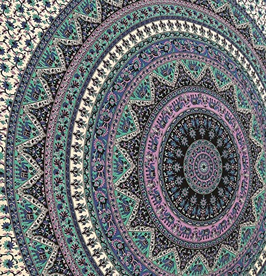 Large Indian Mandala Tapestry Hippie Hippy Wall Hanging Throw Bedspread Dorm Tapestry Decorative Wall Hanging, Picnic Beach Sheet Coverlet