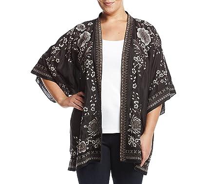 Chelsea & Theodore Plus Size Embroidered Kimono Cardigan at Amazon ...
