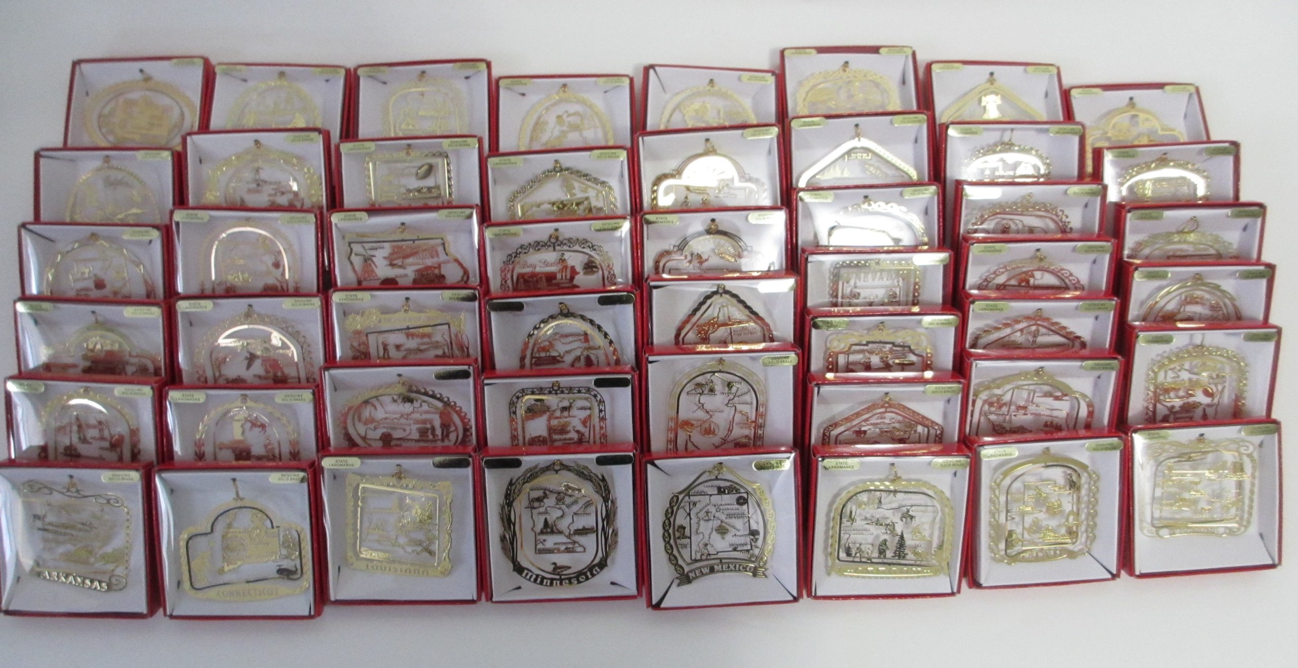 All 50 States Brass Christmas Ornaments USA America by Nations Treasures