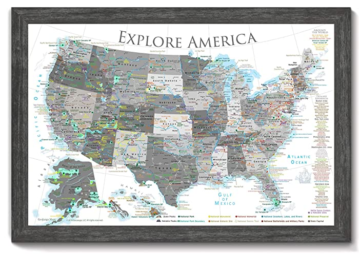 Amazon.com: National Parks Push Pin Map - USA Travel Map - Large ...