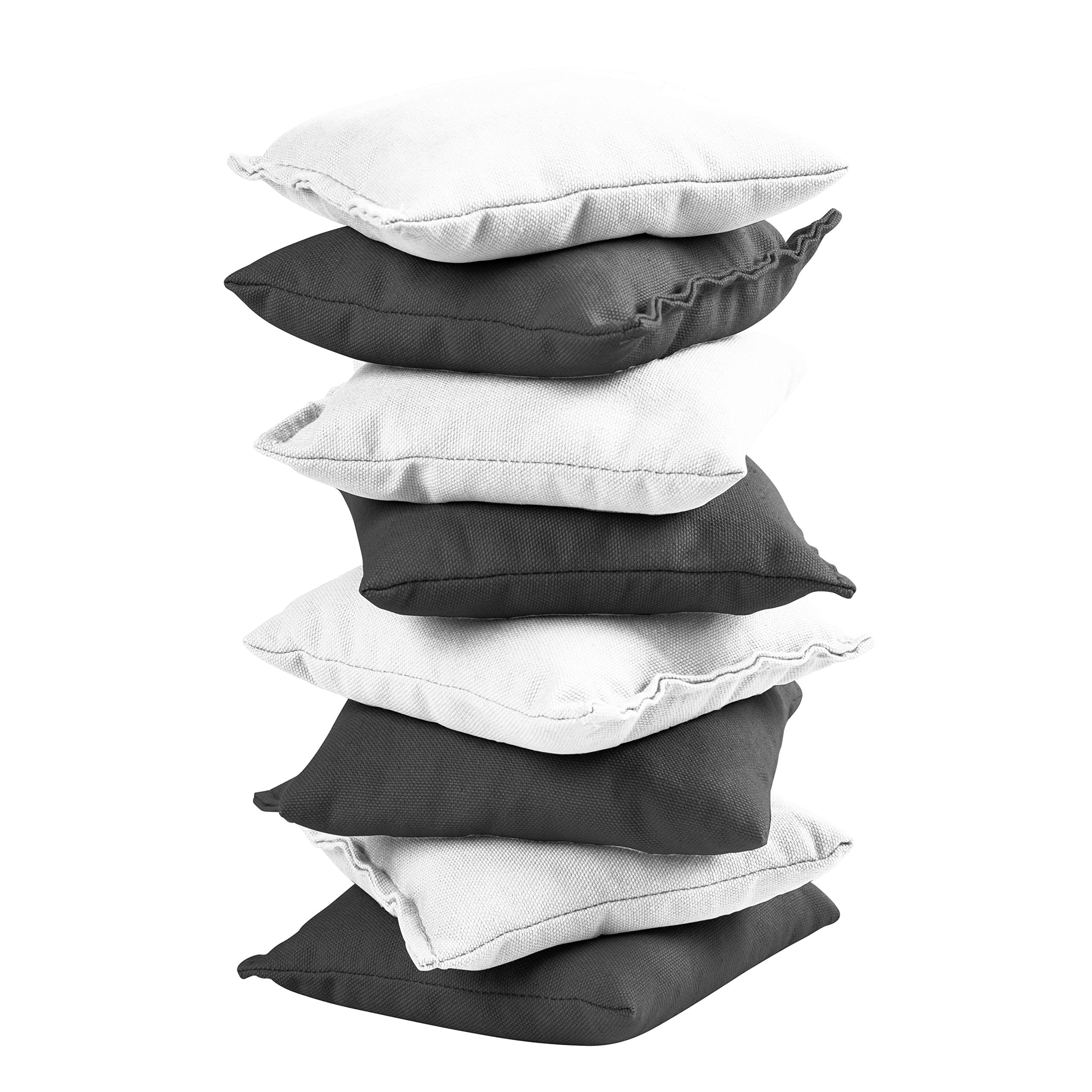 Victory Tailgate 8 Colored Corn Filled Regulation Cornhole Bags with Drawstring Pack (4 Black, 4 White) by Victory Tailgate (Image #2)