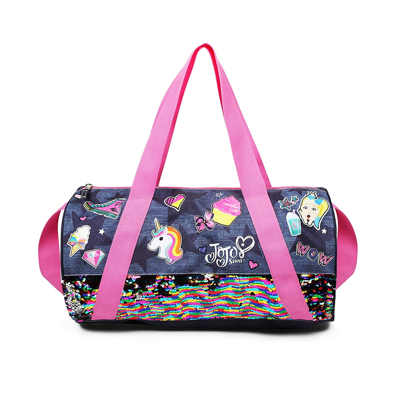 Nickelodeon JoJo Siwa Pink Denim Sequin Unicorn Sticker Duffle Bag for Girls