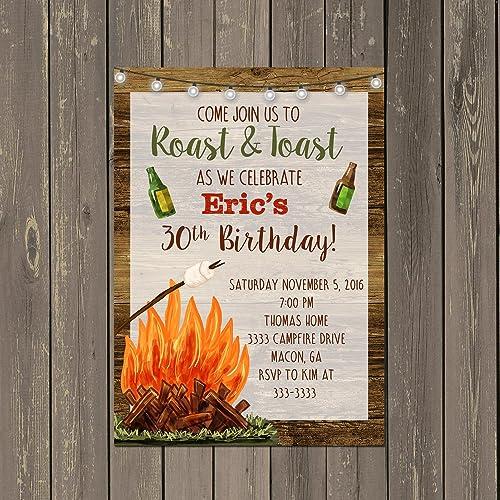 Amazon Backyard Bonfire Invitation Adult Birthday Party