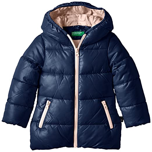 United Colors of Benetton 2EO6533A0 Contrast Zip Hooded Puffa, Abrigo para Niñas, Azul Marino, 3 años (98 cm): Amazon.es: Ropa y accesorios