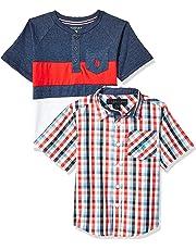 U.S. Polo Assn. Boys Short Sleeve Woven Shirt and Henley Shirt Set Short Sleeve Button Down Shirt - Multi