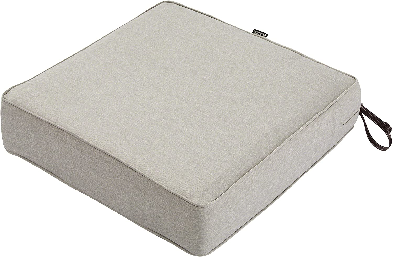 "Classic Accessories Montlake Seat Cushion Foam & Slip Cover, Heather Grey, 25x25x5"" Thick"