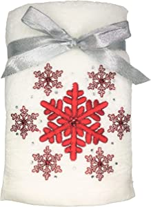 Winter Dreams Set of 2 Embroidered Red Snowflakes with Jeweled Accents White Hand Towels for Christmas Bathroom Decor, Christmas Hand Towels, Christmas Decorations