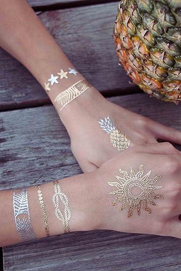 a48ebc1ab Amazon.com : Sun Goddess Collection -Beach Themed Metallic Temporary Tattoos  by TribeTats - Gold & Silver Henna Inspired Body Art - Nautical Flash  Tattoos ...