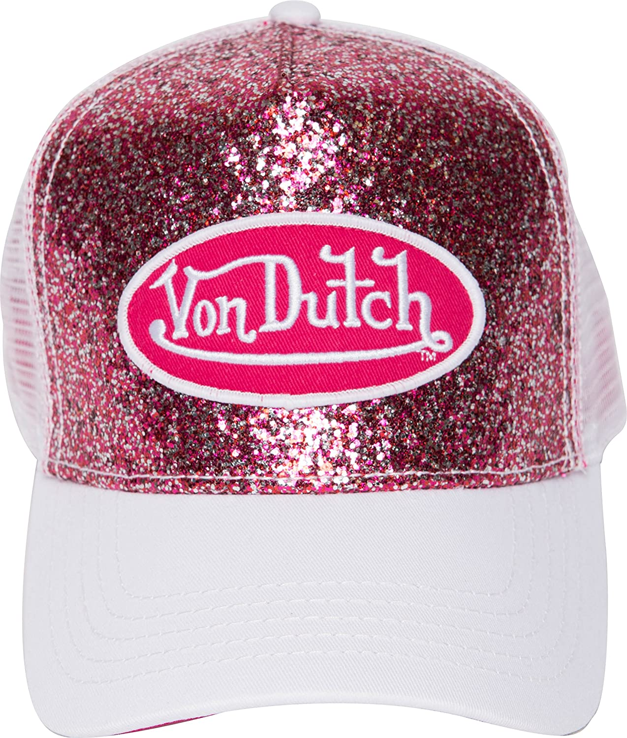 e7f93dcaa68 Von Dutch Trucker Sparkle Cap with Logo Patch (Blue VDHT231) at Amazon  Women s Clothing store