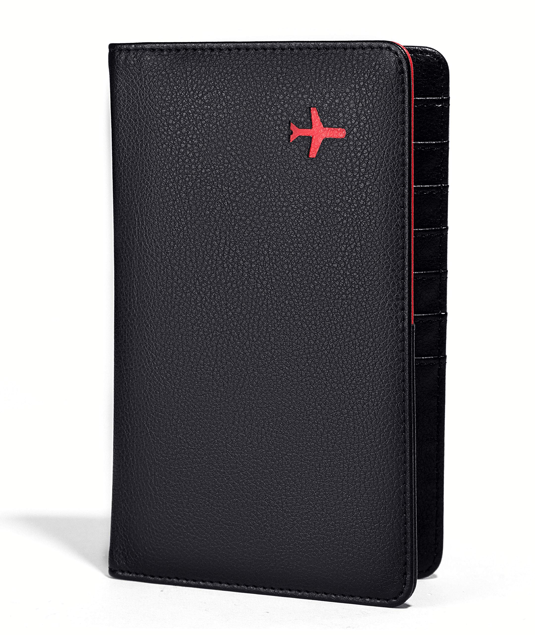Travel Design all in one Travel Wallet - 2 Passport Holder Organizer - Gift box (Black/Red)