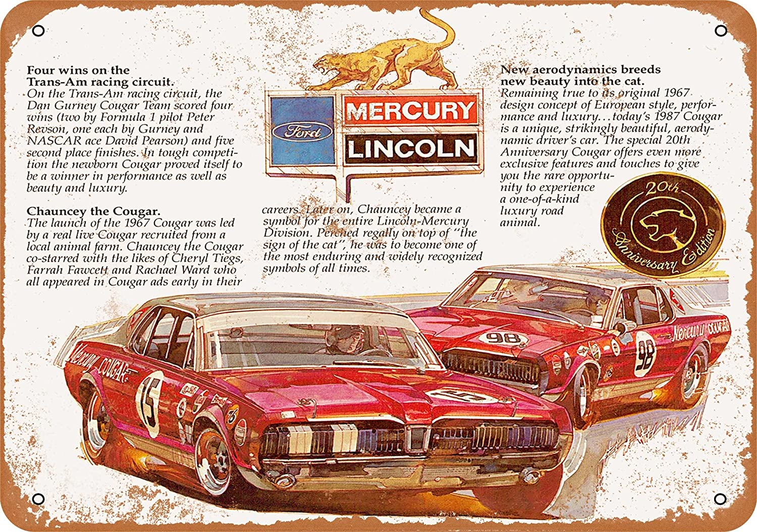 Amazon Wall Color 7 X 10 Metal Sign 1967 Mercury Cougar 20th