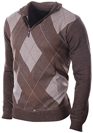 3eb4d6b8530c Enimay Men s Fashion Business Casual Long Sleeve Half Zip Argyle Pull Over  Classic Brown Argyle Small