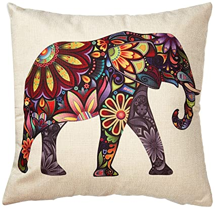 Lyanther Color Brillante Flor Elefante arpillera Fundas de Almohada Fundas de cojín, 18 x 18
