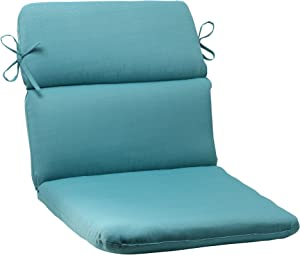 """Pillow Perfect Outdoor/Indoor Forsyth Pool Round Corner Chair Cushion, 40.5"""" x 21"""", Turquoise"""