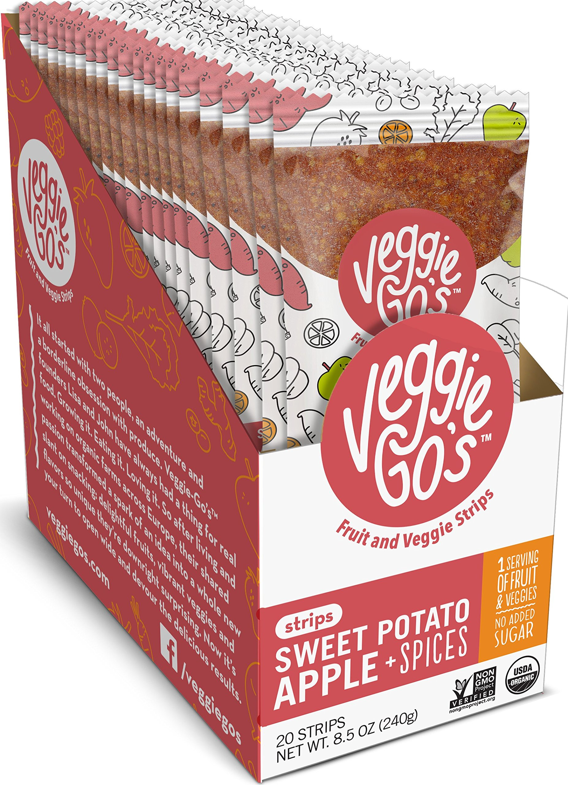 Veggie-Go's Organic Fruit and Veggie Strip with No Added Sugar, Sweet Potato, Apple, Spices, 0.425 Ounce (Pack of 20) by Veggie-Go's